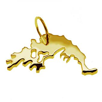 Trailer map Greece pendant in solid 585 gold