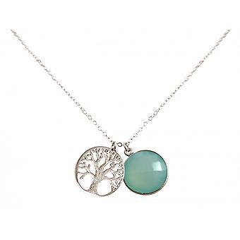 Senhoras - Calcedônia de árvore da vida - prata 925 - colar - pingentes - - mar verde - 45 cm