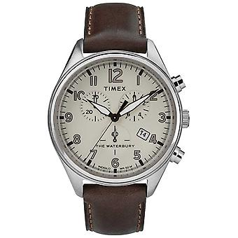 Timex, Mens la Waterbury traditionnelle Tan Chrono en cuir brun TW2R88200 montre