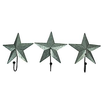 Galvanized Primitive Farmhouse Star Wall Hook Set of 3