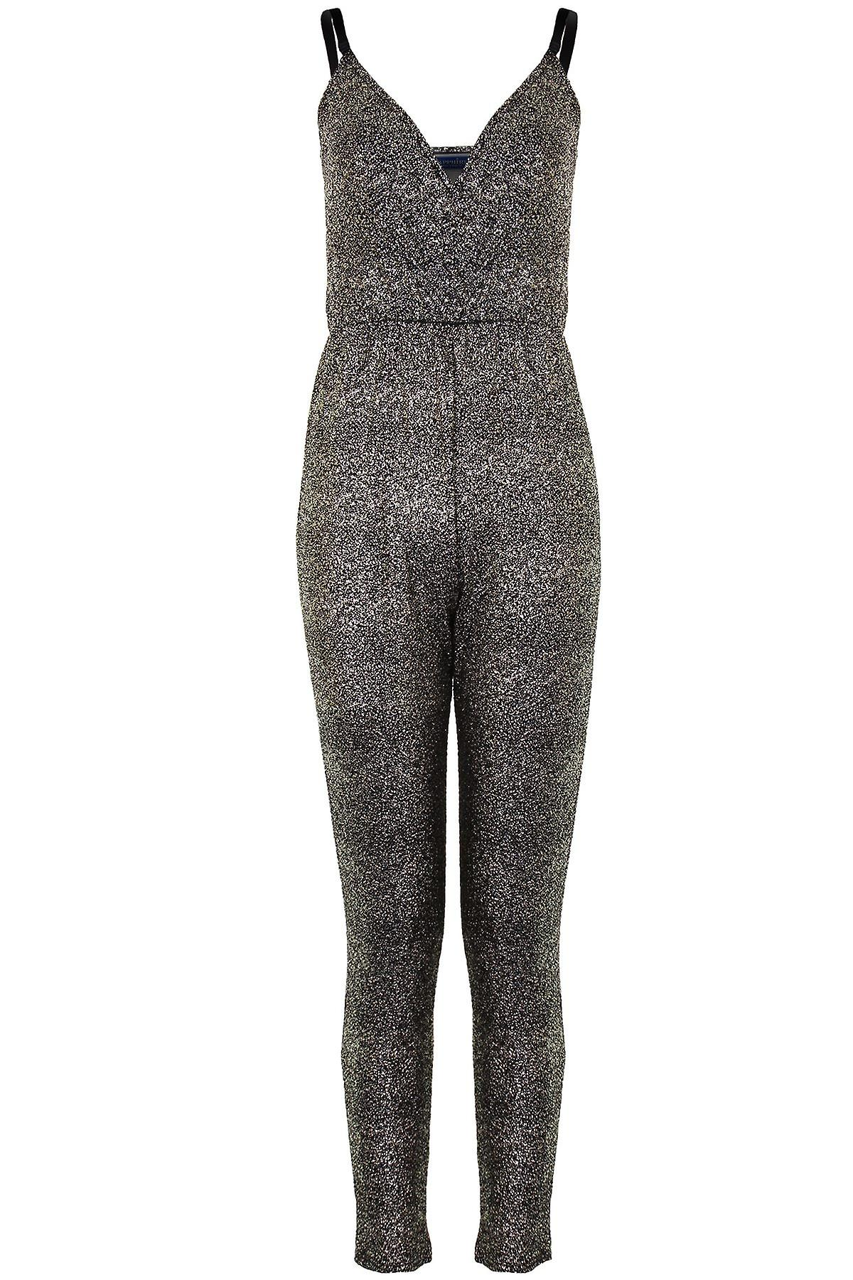 Ladies Adjustable Straps Wrap V Neck Women's Glittery Crinkle All In One Jumpsuit