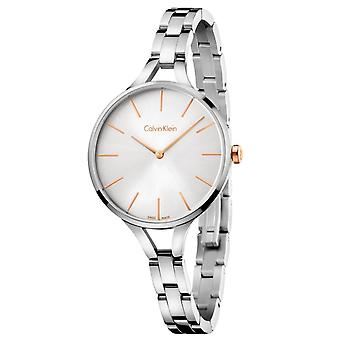 Calvin Klein Graphic Rose Gold Silver Tone Dial Ladies' Watch K7E23B46