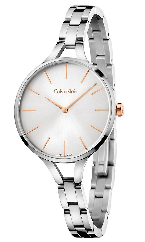 Calvin Klein Graphic Rose Gold Silver Tone Dial Ladies' Watch