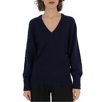 Chloé Chc19amp7350048b Women's Blue Wool Sweater