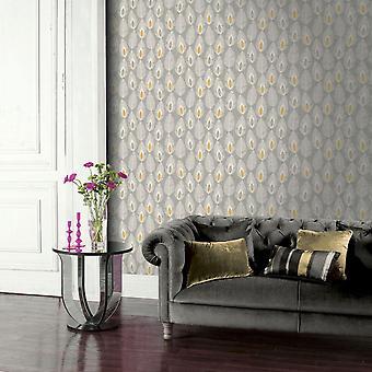 Arthouse Glam grijze veren behang wit geel plak de muur blad functie