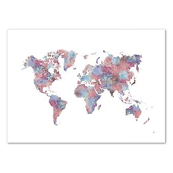 Art-Poster - Painted World Map - Laura O'Connor 50 x 70 cm