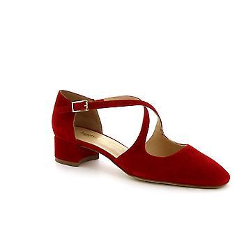 Leonardo Schuhe Damen handgemachte Low Heels Sandalen Schuhe in rotem Wildleder