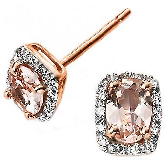 Elements Gold Diamond and Morganite Earrings - Pink/Silver/Rose Gold