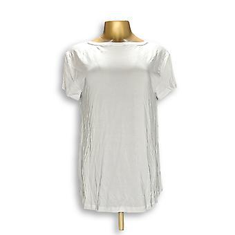 H di Halston Women's Top Essentials V-Neck Top w/ Forward White A306231