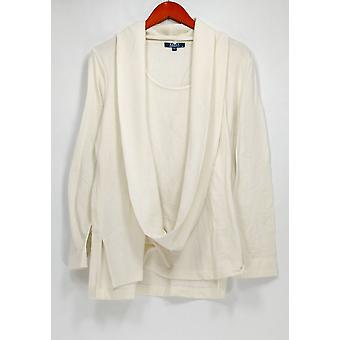 Kelly by Clinton Kelly Top Jersey Knit Top w/ Removable Scarf Ivory A283503