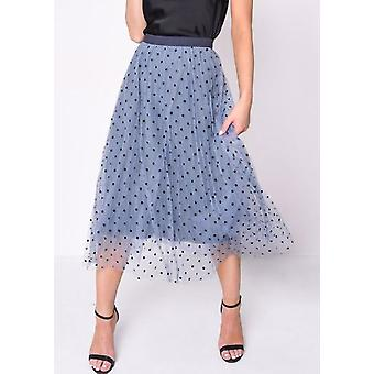 Pleated Polka Dot High Waisted Midi Skirt Blue
