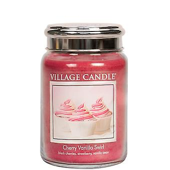 Village Candle 26oz Scented American Large Jar Candle with Double Wick Cherry Vanilla Swirl