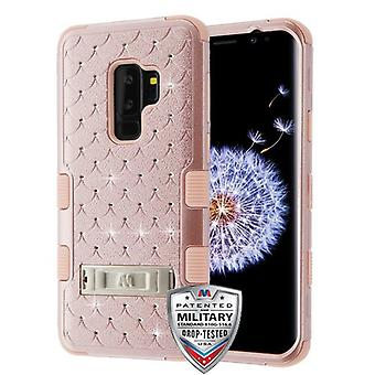 MYBAT Rose Gold/Rose Gold FullStar TUFF Hybrid Case(w/ Stand) for Galaxy S9 Plus
