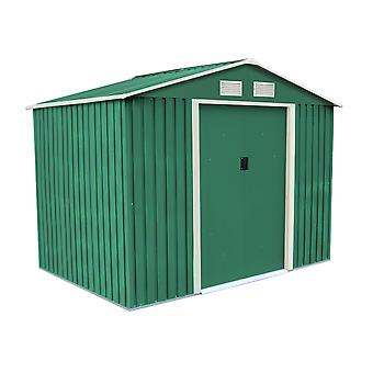 Charles Bentley 8Ft X 6Ft Dark Green Metal Garden Storage Shed Zinc Floor Frame
