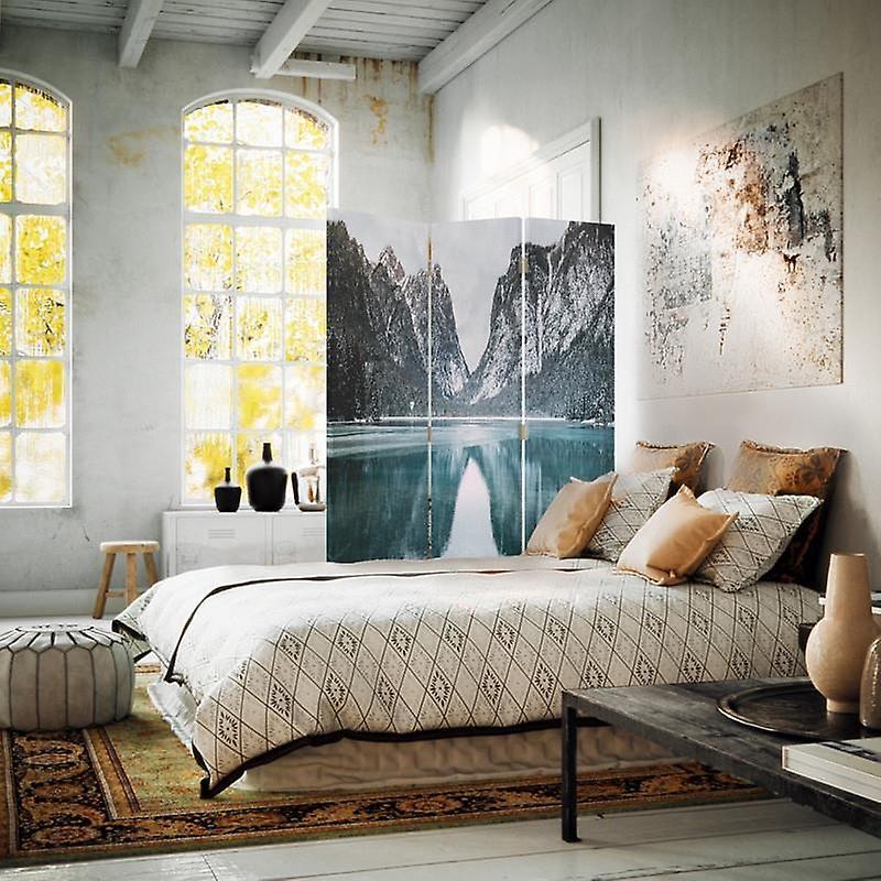 Diviseur de chambre, 3 panneaux, double-sided, toile, paysage de montagne