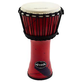 World Rhythm 8 Inch Rope Tuned Djembe Drum - Red African Synthetic