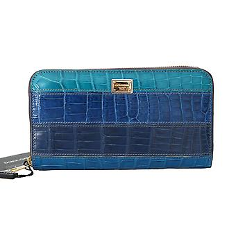 Dolce & Gabbana Blue Crocodile Leather Continental Wallet