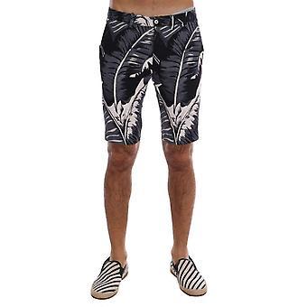 Dolce & Gabbana Gray Banana Leaf Print katoenen Shorts--PAN6501808