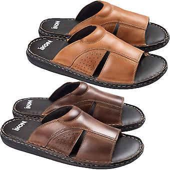 Ikon Mens Padstow Casual Summer Holiday Beach Slip On Leather Flip Flops Sandals