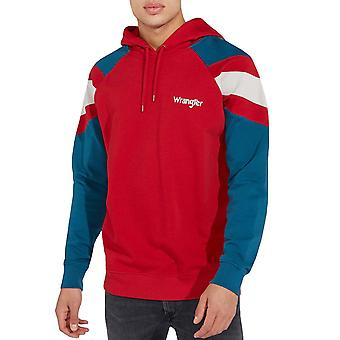 Wrangler Mens Colour Block Cotton Pullover Long Sleeve Sweatshirt Hoodie - Red