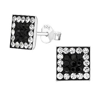 Square - 925 Sterling Silver Crystal Ear Studs - W184x