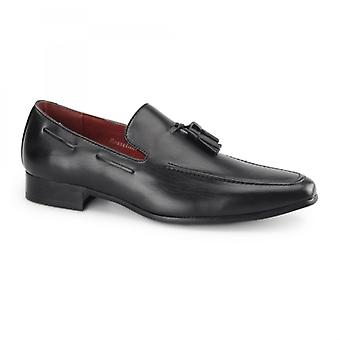 Rossellini Jersey Mens Faux Leather Loafer Shoes Black