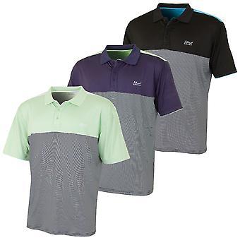 Island Green Mens Blocked Mini Stripes Golf Polo Shirt