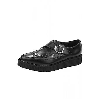 TUK Shoes Black Leather Monk Buckle Pointed Creeper