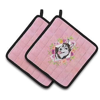 Siberian Husky #1 Pink Flowers Pair of Pot Holders
