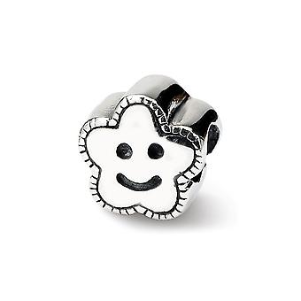 925 Sterling Silver Polished finish Reflections Kids Smiley Flower Bead Charm Pendant Necklace Jewely Gifts for Women