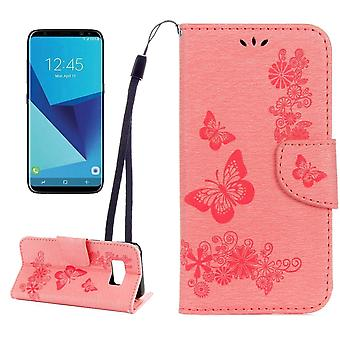 For Samsung Galaxy S8 Wallet Case,Fancy Butterflies,Embossed Leather Cover,Pink