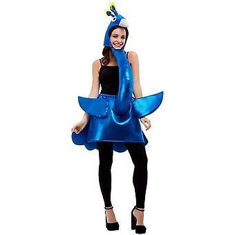 Deluxe Peacock-kostume voksen blå