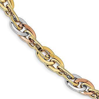 14k Dois tons com rhodium branco polido pulseira fantasia link 7,5 polegadas joias presentes para mulheres
