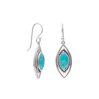 Markisk form oxiderad925 Sterling Silver Örhängen Simulerade Turkos Center Stones smycken gåvor för kvinnor