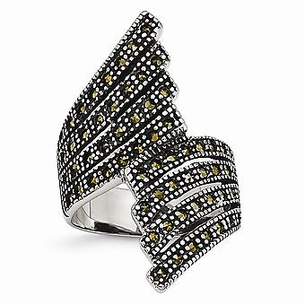 Stainless Steel Polished and Marcasite Ring Size 6 Jewelry Gifts for Women