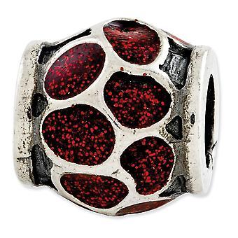925 Sterling Silver Reflections Esmalte rojo con destellos encanto abalorios colgante collar regalos de joyería para las mujeres