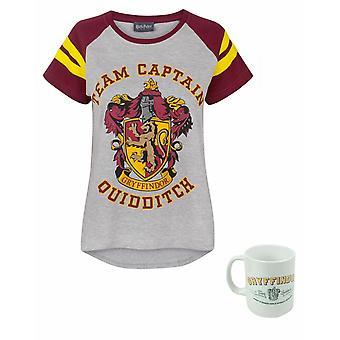 Harry Potter Quidditch Team Captain Women's Top and mug Gift Set Bundle