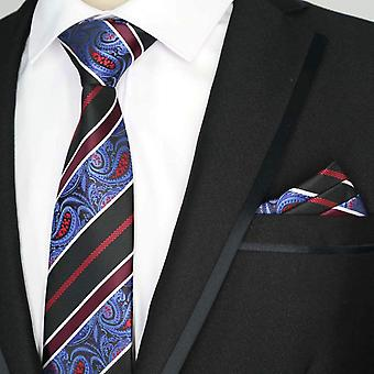 Burgundy blue & black paisley pocket square & tie set