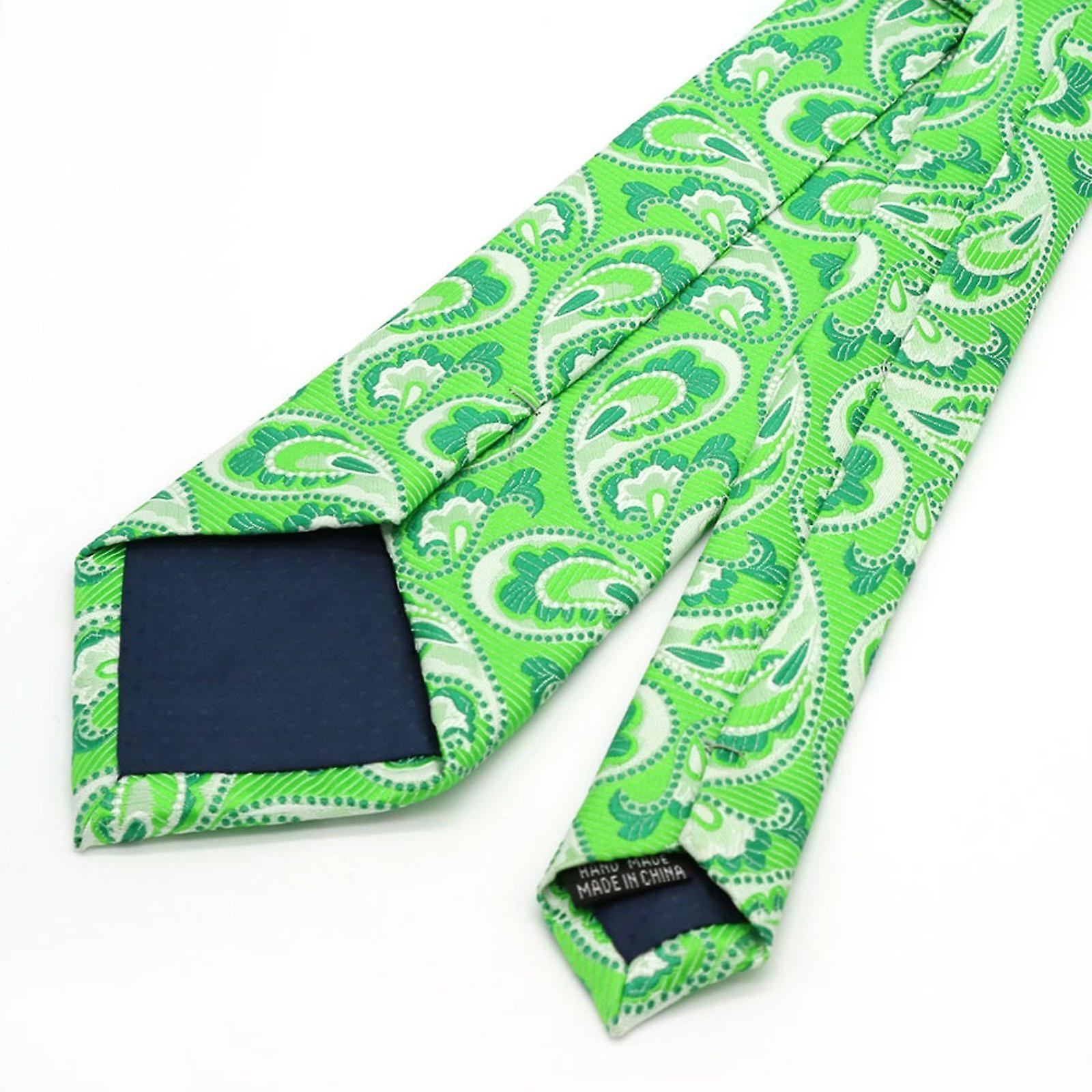 Very bright lime green paisley tie & pocket square set
