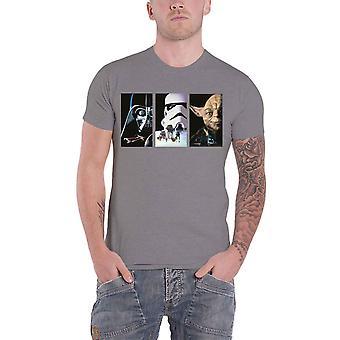 Star Wars T Shirt Tri VHS Art Movie Logo nowy Oficjalny Mens Grey