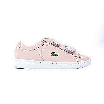 Lacoste Carnaby Evo Strap Junior Kids Cuir Fashion Trainer Chaussure Rose