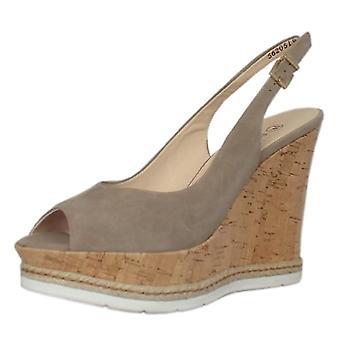 Peter Kaiser Regine Summer High Wedge Platform Sandals In Taupe Suede
