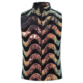 Allthemen Men's Sequined Waistcoat Costurando Colete Multicolor Traje de Colete Traje