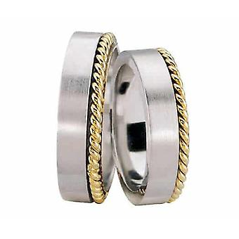 White gold wedding rings with tors ring