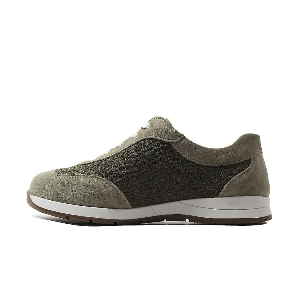 Easy B Linton 2V Khaki Suede Leather Womens Wide Fit Lace Up Casual Trainers