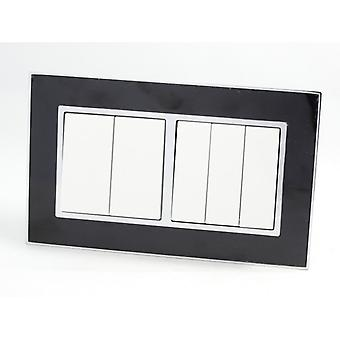 I LumoS AS Luxury Black Mirror Glass Double Frame 5 Gang 2 Way Rocker Light Switches