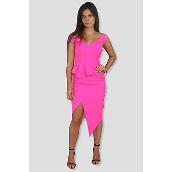 Pink peplum front slit dress