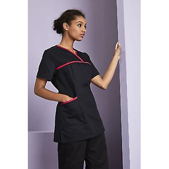 SIMON JERSEY Women's Pull On Scrub Top With Coloured Trim, Black
