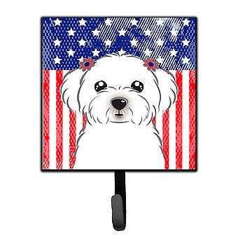 Carolines Treasures  BB2138SH4 American Flag and Maltese Leash or Key Holder