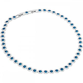 Swarovski Angelic Rhodium Plated & Blue Crystal All-around Necklace
